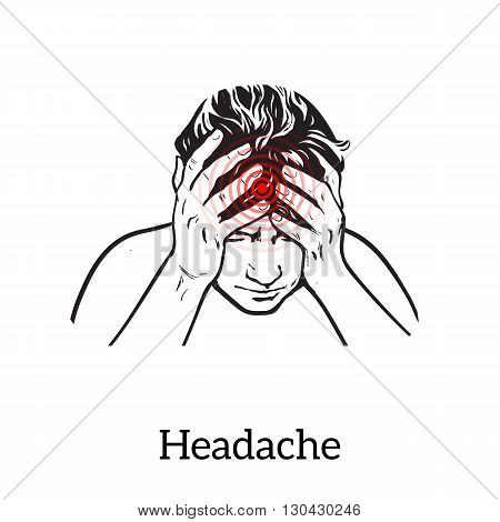 Picture a woman with a headache, illustration sketch of a woman who holds his hand to his head, pain in the head of a woman, the concept of sickness or disease in the human head