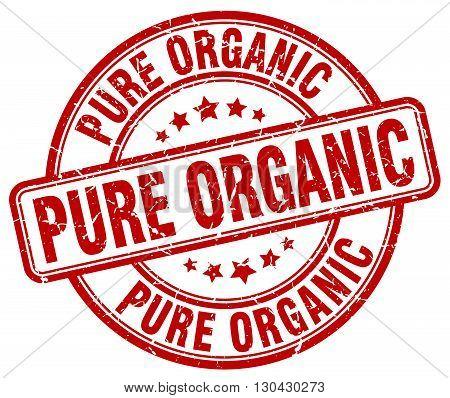 pure organic red grunge round vintage rubber stamp