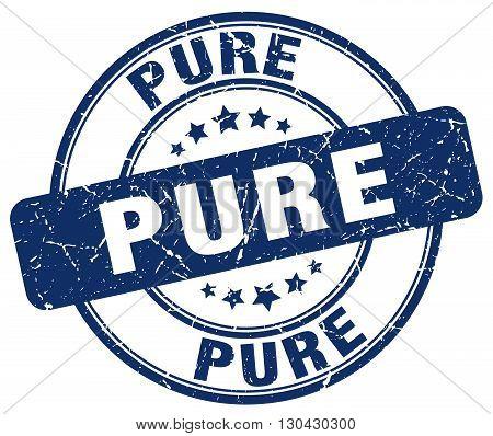 pure blue grunge round vintage rubber stamp