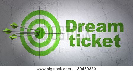 Success business concept: arrows hitting the center of target, Green Dream Ticket on wall background, 3D rendering