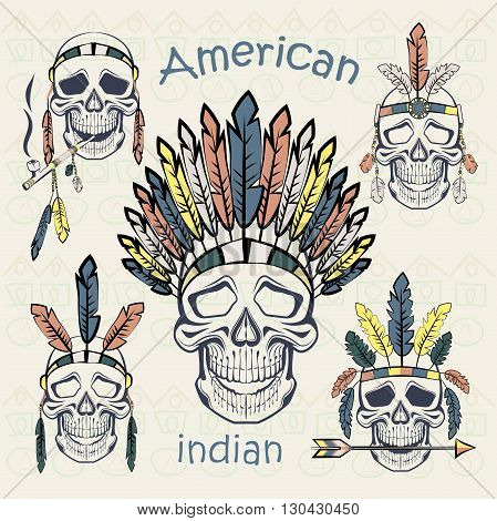 Indians ethnic set skulls with different headdresses, tube, an arrow on a light background with ethnic ornament. Vector illustration