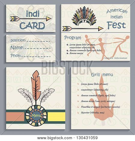 Set of ethnic Indian corporate identity, business cards, flyers menu, can be used to design the corporate identity thematic institutions. Vector illustration