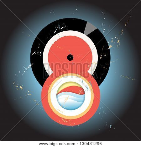 Abstract retro background with interesting round elements