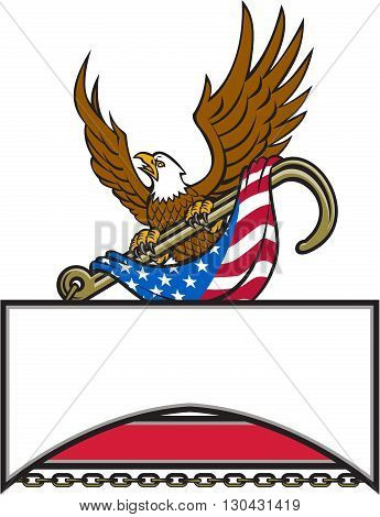 Illustration of an american bald eagle looking to the side clutching with its talon a towing j hook draped with usa american flag and banner with chains under done in retro style style.