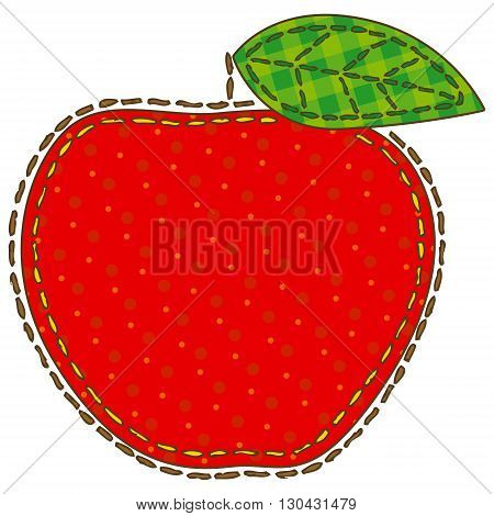 Red Apple in Patchwork Style. Isolated on a White Background