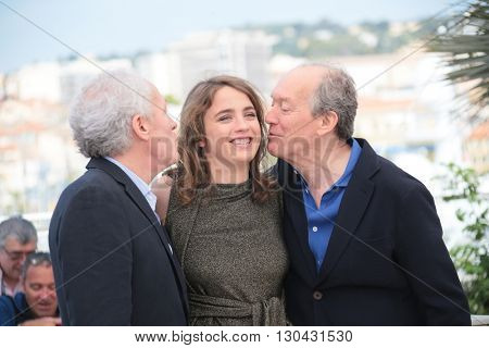 Adele Haenel, Jean-Pierre Dardenne and Luc Dardenne attends 'The Unknown Girl (La Fille Inconnue)' Photocall during the 69th Cannes Film Festival at the Palais on May 18, 2016 in Cannes, France.