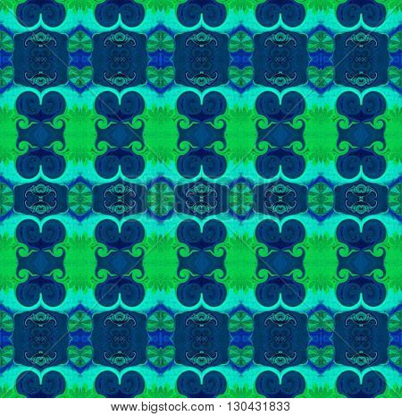Oriental patterns - the language of the soul The picture shows the oriental patterns mainly blue and green colors.