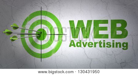 Success marketing concept: arrows hitting the center of target, Green WEB Advertising on wall background, 3D rendering