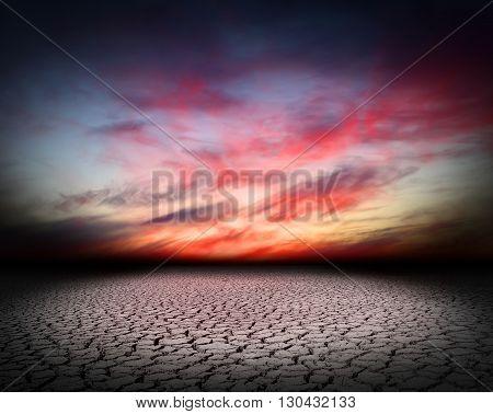 Desert landscape crack   background global warming concept