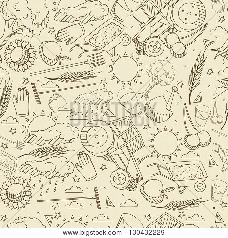 Vector line art Doodle set of cartoon characters and objects Agronomy. Seamless retro