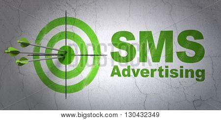 Success advertising concept: arrows hitting the center of target, Green SMS Advertising on wall background, 3D rendering