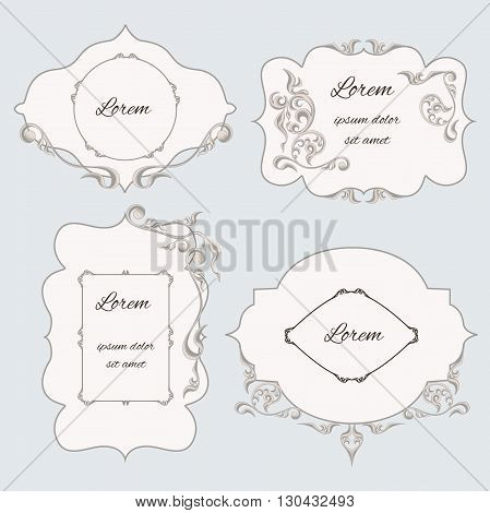 Set vintage ornamental frame, labels, with pattern in the Baroque style. It can be used to print design, letterpress.  Vector illustratior