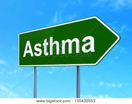 Healthcare concept: Asthma on green road highway sign, clear blue sky background, 3D rendering