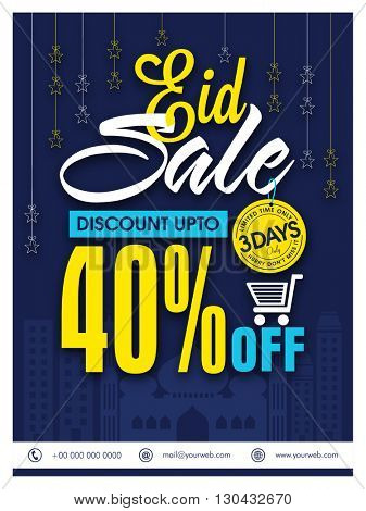 Eid Sale Pamphlet, Sale Banner, Sale Flyer, Limited Time Sale, 40% Discount, Creative vector illustration with mosque silhouette for Islamic Festival celebration.