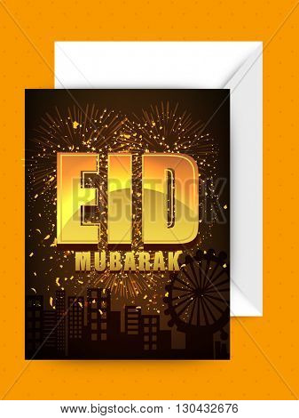 Golden Text Eid Mubarak on firework explosion and cityscape background, Beautiful Greeting Card with Envelope for Islamic Festival celebration.