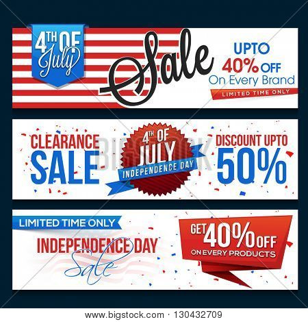 4th of July Sale website header or banner set, Paper Sale Tags, Limited Time Sale with Discount Offer, Vector illustration in American Flag colors for Independence Day.
