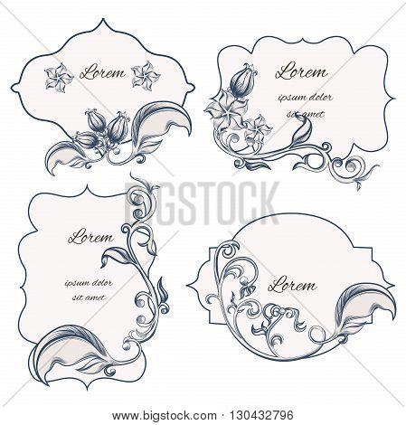 Set of floral ornament frame and labels, with a pattern in the Baroque style. It can be used for letterpress. Vector illustrator