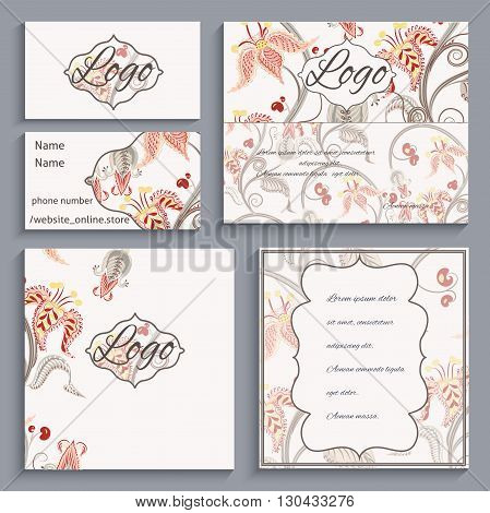 Set of corporate ornament identity, business cards, flyers, menu or catalog with frame Victorian style. It can be used to print design for restaurants. Vector illustration