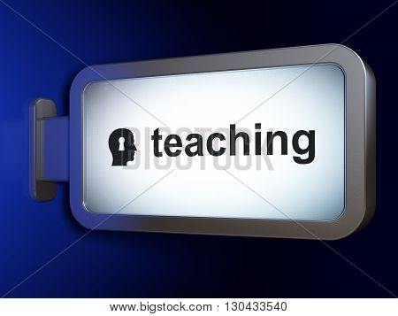 Studying concept: Teaching and Head With Keyhole on advertising billboard background, 3D rendering