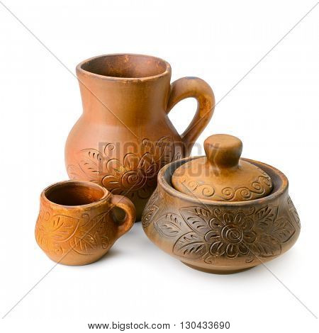 Jug, pot and cup. Pottery isolated on white background.