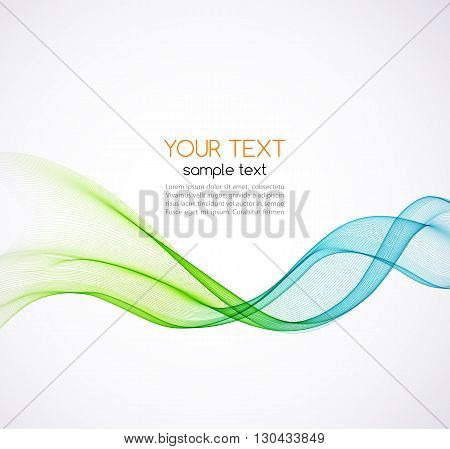 Abstract vector background, blue and green transparent waved lines for brochure, website, flyer design.  Blue and green smoke wave. Blue and green  wavy background