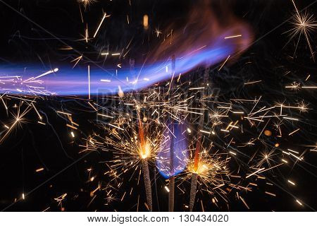 fire and sparks on a black background