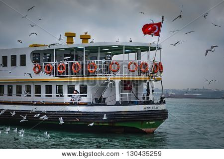 Istanbul Turkey - December 21 2012: Icon is one of the ferries in Istanbul.