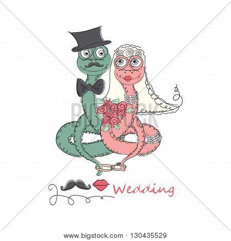 Vector Hand drawn romantic universal trendy card with characters cute hipster snake. Doodle love Design for Wedding, marriage, bridal, Valentine's day, party invitations