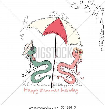 Vector Hand drawn romantic universal trendy card with characters cute hipster snake. Doodle love Design for Wedding, marriage, bridal, birthday, Valentine's day, summer party invitations, holidays