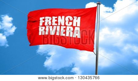 french riviera, 3D rendering, a red waving flag