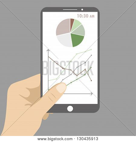 Smart phone with business graph in hand. Vector illustration