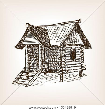 Wooden hut sketch style vector illustration. Old engraving imitation.
