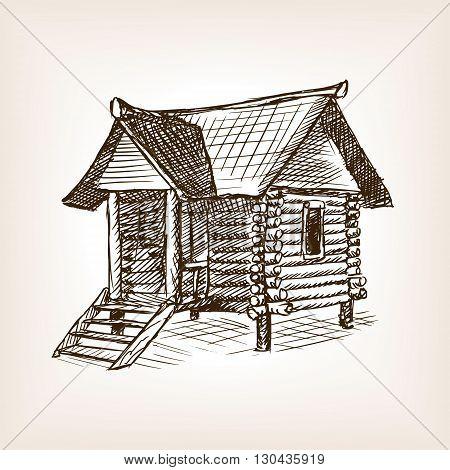 Wooden hut sketch style vector illustration. Old engraving imitation.