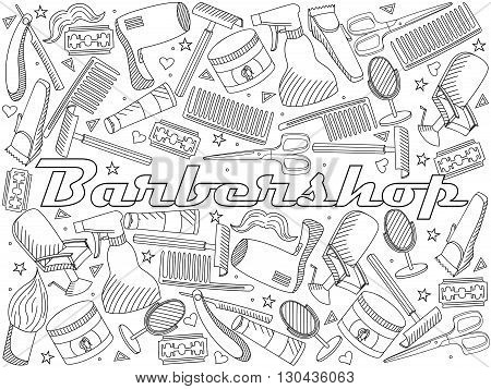 Vector line art Doodle set of cartoon characters and objects Barbershop. Hairdressing salon coloring book