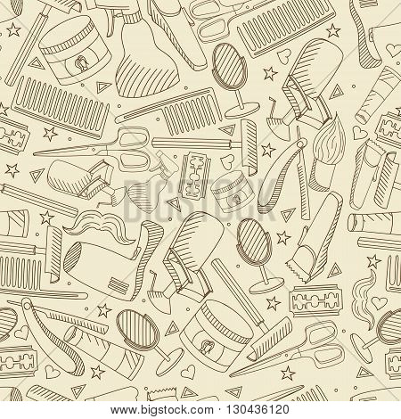 Vector line art Doodle set of cartoon characters and objects Barbershop. Hairdressing salon seamless retro