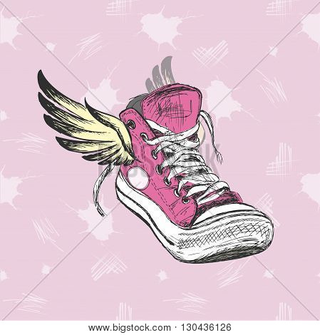 Vintage Sneakers with wings hand drawing vector illustration