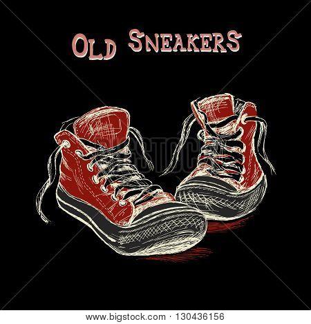 Vintage Sneakers Hand Drawn on black background vector illustration
