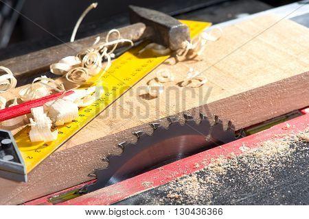 steel circular saw in the carpentry workshop