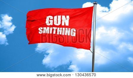 gun smithing, 3D rendering, a red waving flag