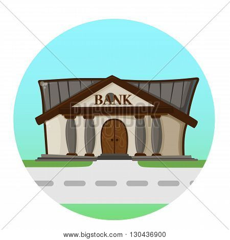 bank building road flat syle background concept. Vector illustration design