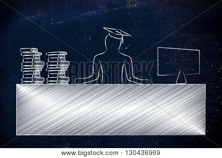Graduate Person Sitting At Office Desk