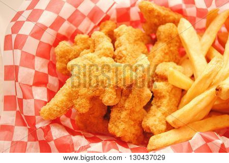 Take Out Deep Fried Chicken Strip Shaped Dinosaurs with French Fries