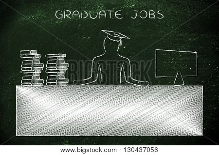 Graduate Person Sitting At Office Desk, Caption Graduate Jobs