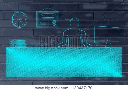 Ceo Sitting At Desk In His Office
