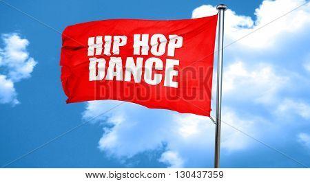 hip hop dance, 3D rendering, a red waving flag
