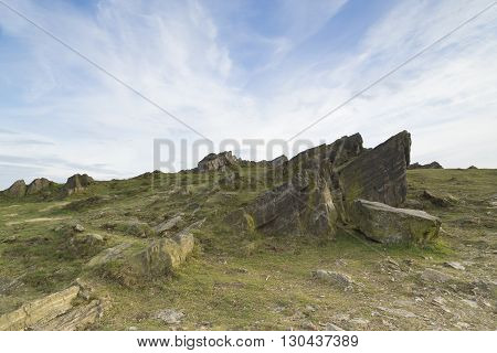 An image of a formation of rocks captured at Beacon Hill country park Leicestershire England UK.