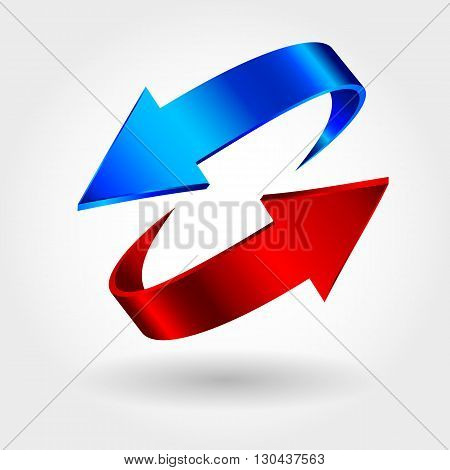 Red and blue arrows are moving towards. Arrows sign isolated on white