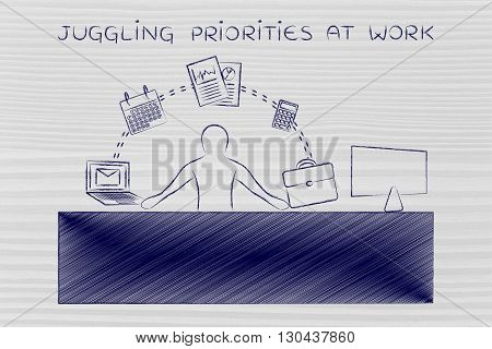 Business Man Juggling Tasks At The Office, Juggling Priorities At Work