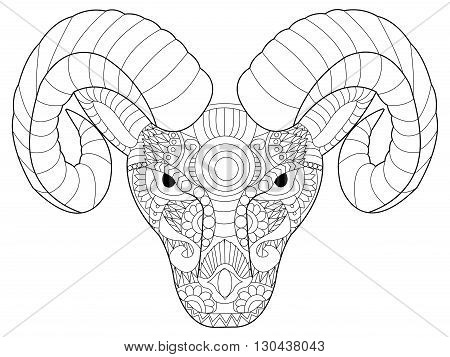 Head ram coloring book for adults vector illustration. Anti-stress coloring for adult. Zentangle style. Black and white lines. Lace pattern