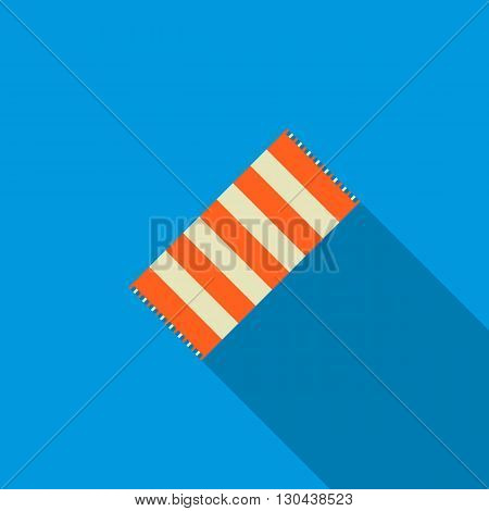 Striped beach towel icon in flat style on blue background
